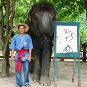 Hong Painting the ORIGINAL Elephant Painting in Thailand